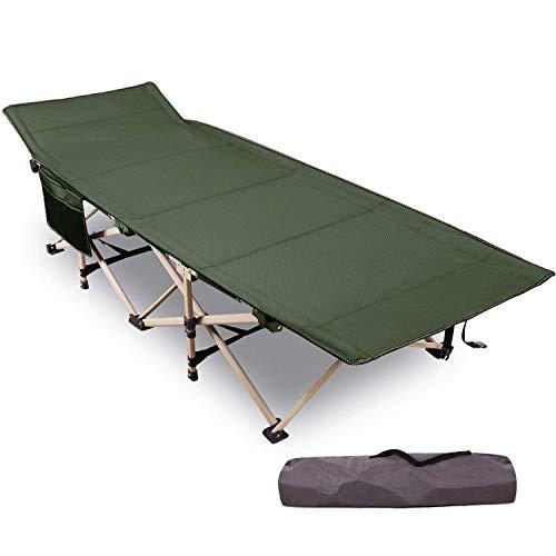 REDCAMP Feldbett Campingbett Kappbar, Campingliege XXL, Belastbar bis 226kg, 190 x 71 x 38 cm, mit Transporttasche, Tragbar für Camping, Grün