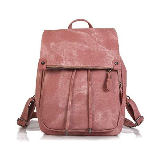 Mode umhängetasche Rucksack pu Leder Frauen mädchen Damen Rucksack Reisetasche Daypack (Rosa)