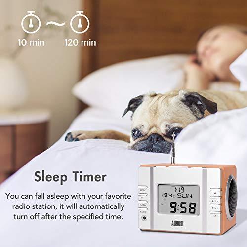 August MB300 Radio Réveil MP3 USB Numérique Poste Radio FM Carte SD Jack - Alarme Thermomètre Minuteur Batterie Rechargeable - Haut-Parleur Stéréo 6W - Bois Style Scandinave
