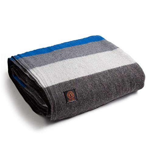 Arcturus Mt. Rainier Wool Blanket - Over 4 Pounds Warm, Heavy, Washable, Large | Great for Camping, Outdoors, Survival & Emergency Kits (White Blue...