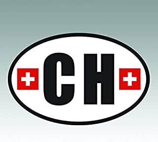 RDW Switzerland Oval Sticker - Die Cut - Decal - CH v5 Country Code Euro - Size: 4.99