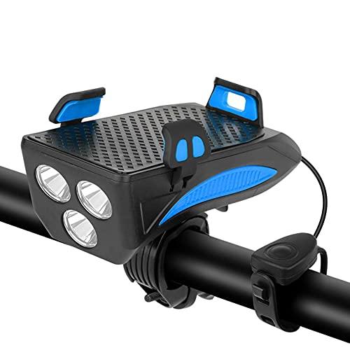 flouris Luz Bicicleta con Soporte Telefónico, Faros Recargables USB Faro Bicicletas Super Brillante Faro Delantero con Batería De 4000mAh, 4 En 1 Bicicleta Montar La Luz con Sonido De Cuerno