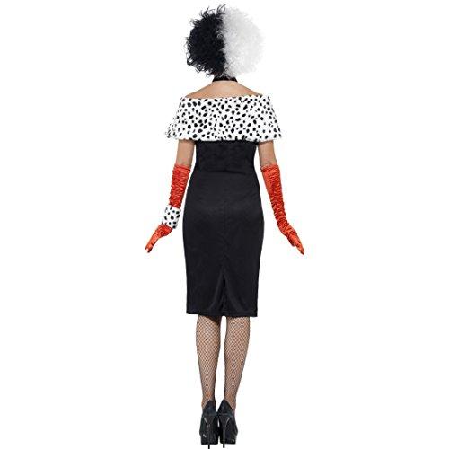 Dalmatiner Lady Damenkostüm Böse Frau Halloweenkostüm S 36/38 Bösewicht Filmkostüm Cruella Kostüm Karneval Kostüme Damen Disney Faschingskostüm Madame Horrorkostüm