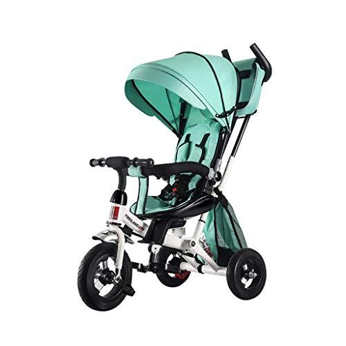 ZHNA Bicicletta for Bambini Auto for Bambini a 3 Ruote Bicicletta a Mano Sedile a Spinta Ammortizzatore 1-3 Anni Bambino Bicicletta Passeggino for Bambini Trike Tenda da Sole (Color : Green)