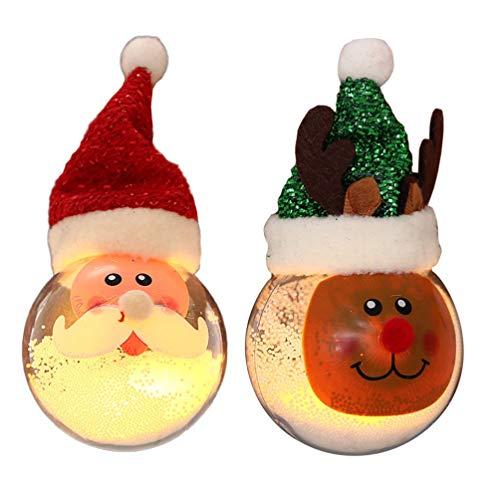 STOBOK 2 Piezas Adornos de Bolas de Navidad artesanía led Iluminado Bolas de Navidad chuchería con Nieve...