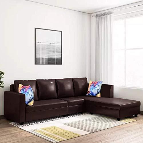 CasaStyle - Carol 6 Seater RHS L Shape Sofa Set Leatherette (Brown)