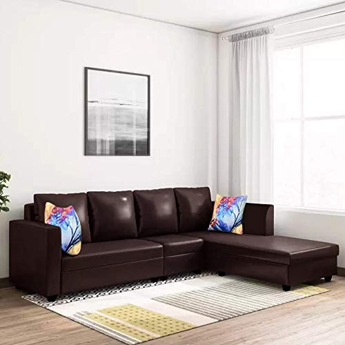 CasaStyle - Carol 6 Seater RHS L Shape Sofa Set Leatherette (Brown)