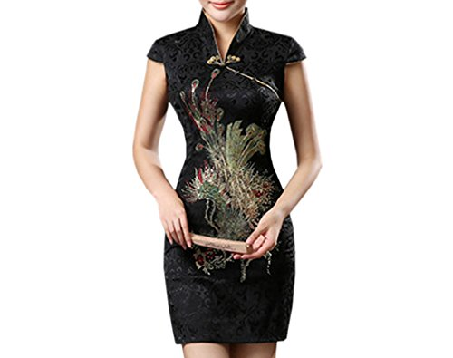 XueXian(TM) Damen Sommer Kleid Mini Qipao mit V-Ausschnitt in DREI Farben (EU 40-42 China/XXL, Schwarz)