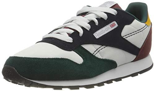 Reebok Classic Leather, Sneaker, Footwear White/Vector Navy/Forest Green, 35 EU