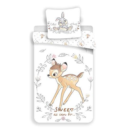 Parure de lit Disney Bambi 100% Coton - Housse de Couette 140x200 cm + Taie d'oreiller 65x65 cm