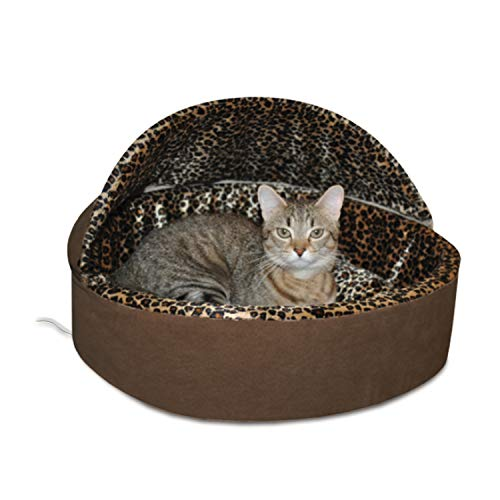 "K&H PET PRODUCTS Thermo-Kitty Deluxe Hooded Cat Bed, Small 16"", 4W, Mocha/Leopard"