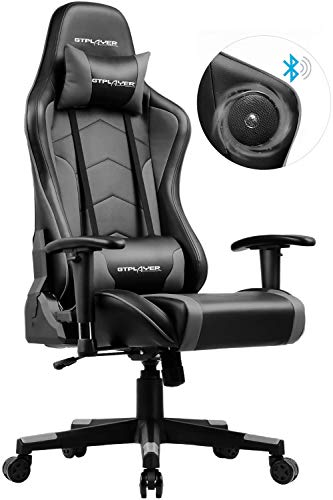 GTPLAYER Gaming Stuhl mit Lautsprecher Bürostuhl Schreibtischstuhl Serie Musik Audio Gamer Stuhl Drehstuhl Ergonomisches Design PC Stuhl Multi-Funktion E-Sports Chefsessel Grau