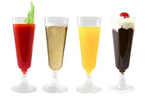 42, 84 or 126 Champagne Flutes Premium 5.5 oz Clear Hard Plastic Disposable Glasses, Perfect for Mimosas, Bloody Mary's, Wine Glasses, Sodas, Cocktail Cups, Parfaits, Sundaes and other Desserts