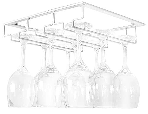 ASFINS Porta Bicchieri Vino Sospeso, Appendi Bicchieri Portabicchieri Sospeso, Multifunzione Portabicchieri da Vino per Bicchieri da Vino Appesi, Con Viti, 31,5cm x 23,5cm (Bianco)