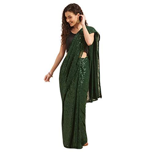 Womanista georgette with Blouse Piece Saree (TI1440_ Dark Green_ Onesize)