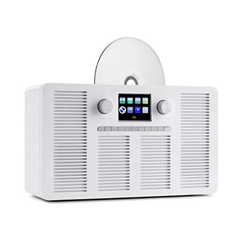 """auna Vertico – Radio con Internet con Reproductor de CD, Radio Inteligente: Internet / Dab+ / FM, Ranura del Reproductor de CD, Bluetooth, Control por App por UNDOK, Pantalla HCC de 2,4"""", Blanco"""