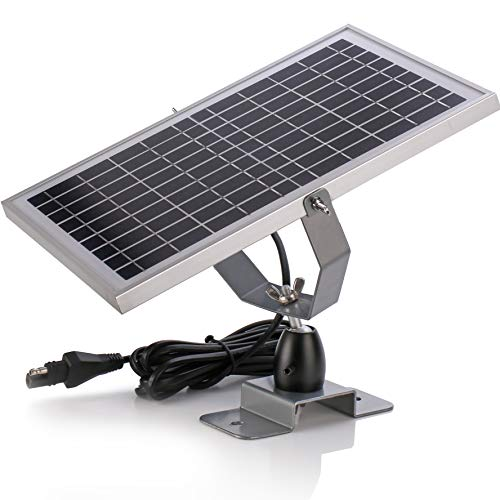 SUNER POWER 12V Waterproof Solar Battery Trickle Charger & Maintainer - 10 Watts Solar Panel Built-in Intelligent MPPT Solar Charge Controller + Adjustable Mount Bracket + SAE Connection Cable Kits