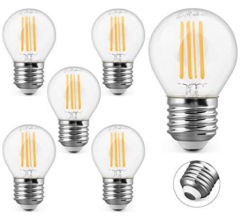 KYOTECH LED Filament Lampe E27 4W Ersetzt 40W 400LM Warmweiß 2700K Glühbirne Abstrahlwinkel 360° Glas LED Edison G45 Leuchtmittel Classic Lampe Birnen in Kolbenform 6er Set