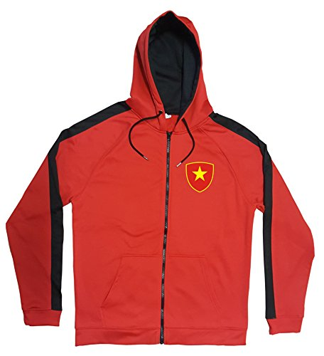 Vietnam Jacke Sweater Rot JA GO Vietnam Trikot Look Zip Nation Fussball Sport (S)