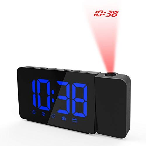 Bedler Reloj de Alarma de proyección LED operado por USB Regulable Radio FM Reloj de Escritorio con proyector Giratorio Alarmas Dobles Función de Despertador - Azul