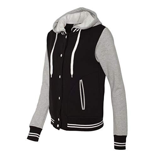 Move U Women's Gray & Black Snap Front Varsity Bomber Jacket with Hood