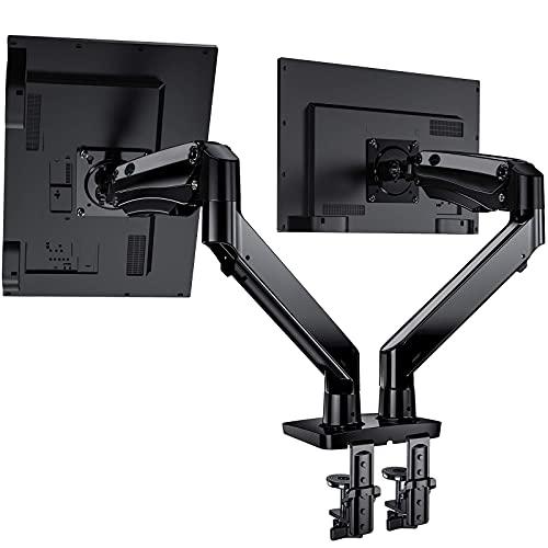 """HuaNuo 15"""" - 35"""" Supporto per Doppio Monitor, Braccio Regolabile con Molla a Gas con Cavi USB, Supporto VESA 75/100 mm e Peso Fino a 12 kg per Braccio, 2 Opzioni di Montaggio"""