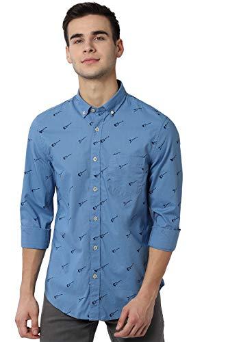 Peter England Men's Printed Slim fit Casual Shirt (PJSFJSSP477330_Blue 40)