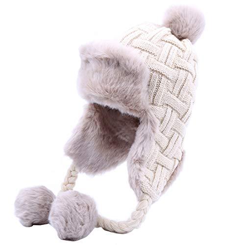 Kuyou Kuyou Damen Winter Hut Ohrenschützer Trapper Warm Fellmütze, Weiß, Einheitsgröße