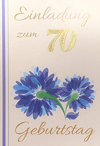 Einladungskarten 70. Geburtstag Frau Mann mit Innentext Motiv blaue Blume 10 Klappkarten DIN A6 im Hochformat mit weißen Umschlägen im Set Geburtstagskarten Einladung 70 Geburtstag Mann Frau K180