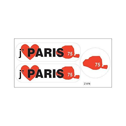 Planche A4 de stickers Département 75 j'aime Paris autocollant adhésif
