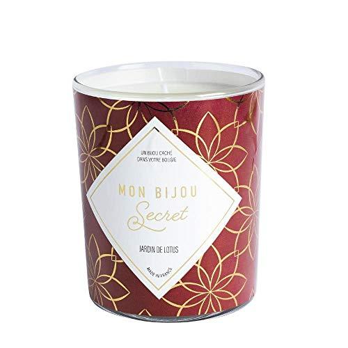 Vela joya – fabricada en Francia – Después de su combustion, descubre la joya oculta: anillo ajustable dorado – Perfume jardín de loto – 40 h