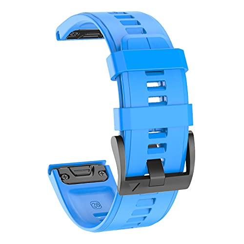 ISABAKE 26mm Correa de reloj repuesto Quickfit de silicona suave para Garmin Fenix 5X / Fenix 5X Plus / Fenix 6X / Fenix 6X Pro / Fenix 3 / HR / D2 Delta PX Smartwatch Band
