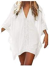 JFAN Camisa Suelto de Bikini Mujer Ropa de Baño Playa Traje de Baño Vestido de Bikini Camisolas y Pareos(Blanco,Talla única)