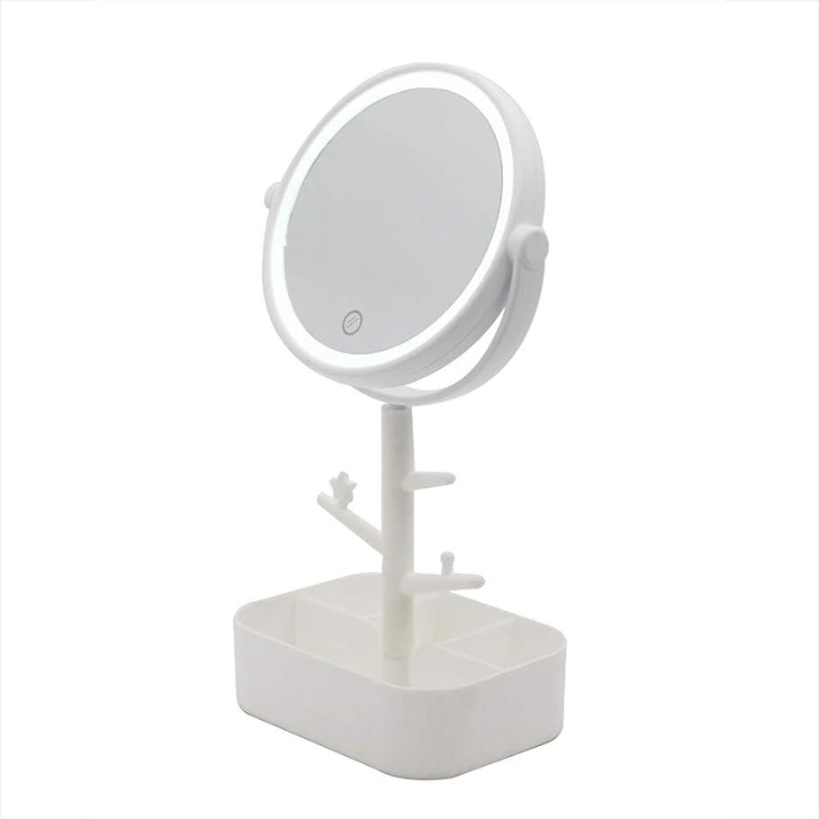 週間医薬品ブリリアントLecone LED化粧鏡 女優ミラー 卓上ミラー 360度調整可能 スタンドミラー LEDライト メイク 化粧道具 円型 収納ケース 可収納 USB給電 (ホワイト)