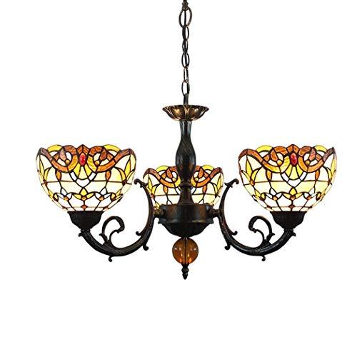 DALUXE Arañas de 3 Cabezas de Estilo Tiffany, lámparas de suspensión de decoración de Dormitorio en Estilo Barroco romántico en Vidrio de Colores