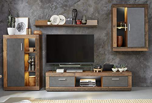 Trendteam Wohnwand Jazz in Old Used Wood Shabby Design mit Matera grau Schrankwand 4-teilig 295 x 188 cm