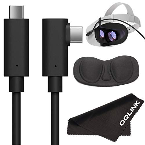 OQLINK Oculus Quest 2 Link Cable 16ft(5M), USB Type C to C, USB 3.2 Gen1 5Gbps/3A, Bonus Lens Cover and Microfiber Cloth, Oculus Link Cable with High Speed Data Transfer & Fast Charging