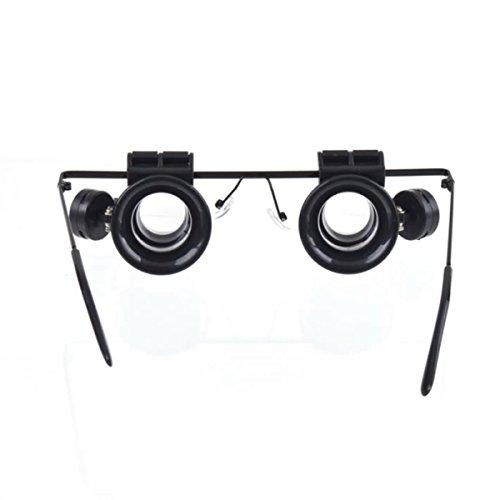 Greatangle Lightweight Resin & Plastic Double Eye Uhren Reparatur Mikroskop Werkzeuge Brillen Typ 10X Uhrmacher Lupe Mit LED-Licht - Schwarz