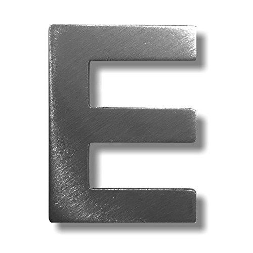 """Metall-Buchstabe """"E"""" aus gebürstetem Edelstahl – Höhe 4cm – Hausnummer, Zimmerbeschriftung, Bürobeschriftung, Türsymbol, Wandbeschilderung – rostfrei und selbstklebend ohne bohren"""