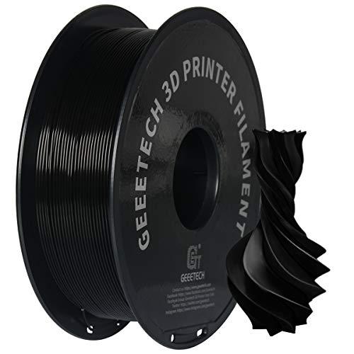 GEEETECH PETG Filamento 1.75 mm Negro, Filamento PETG 1kg Spool para impresora 3D