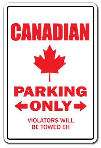 Canadian Aluminum Sign Parking Canada Flag Maple Leaf Hockey Canadien | Indoor/Outdoor | 18