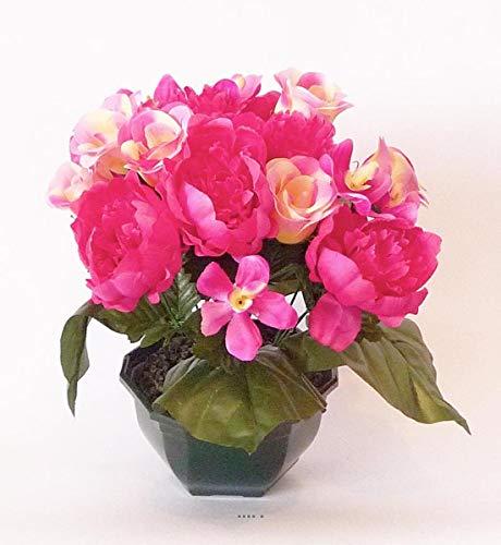 Artificielles.com - Composition Vasque Rose, Pivoine lestee pour Exterieur H 32 cm Rose Fushia - Couleur: Rose Fushia