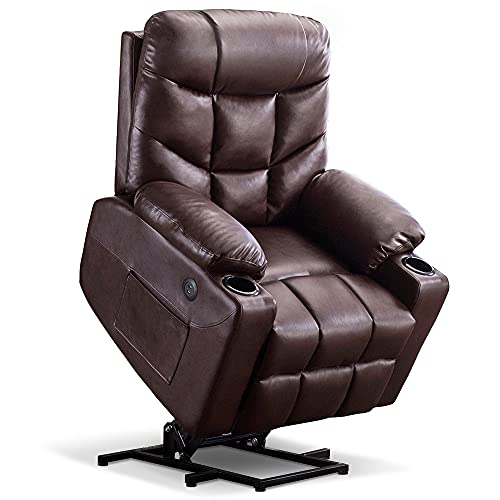 Mcombo Electric Power Lift Recliner Chair Sofa for Elderly, 3 Positions, 2 Side Pockets and Cup Holders, USB Ports, Faux Leather 7288 (Dark Brown)