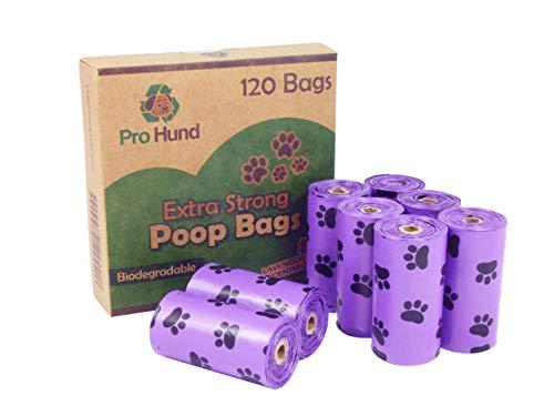 Pro Hund 120 Hundekottüten – XXL – Biologisch abbaubare Hundekotbeutel mit dezentem Lavendelduft und Innenseite aus Papier Kotbeutel Rollen