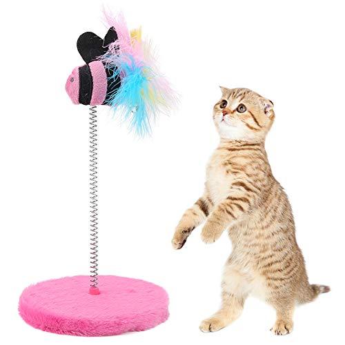 Ponacat 猫用おもちゃ 魚のおもちゃ ニャンコロビー サークル ナチュラル 猫じゃらし 猫羽のおもちゃ スクラッチャー 羽根 ペット用 犬猫用 ピンク