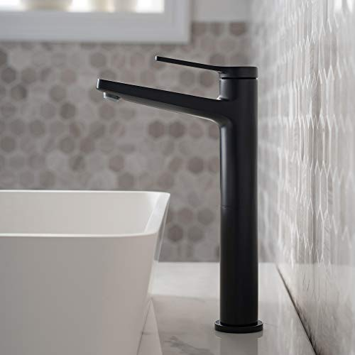 Kraus KVF-1400MB Indy Single Handle Vessel Bathroom Faucet, Matte Black