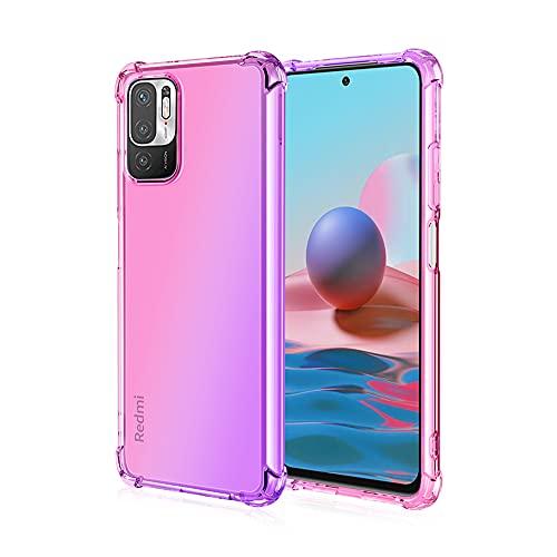 Dedux Funda para Xiaomi Poco M3 Pro 5G / Redmi Note 10 5G, [Refuerzo de Cuatro Esquinas] Carcasa Gradiente Transparente TPU Suave Funda Case (Rosa/Violeta)