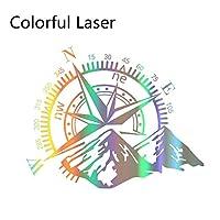 車ステッカー カーアクセサリ 2個車のドア横ステッカービニールフィルム自動デコレーションステッカーコンパス防水SUVのスタイリング自動車カーチューニングアクセサリー DIYステッカー (Color Name : Colorful Laser, Style : 50CMx40CM)