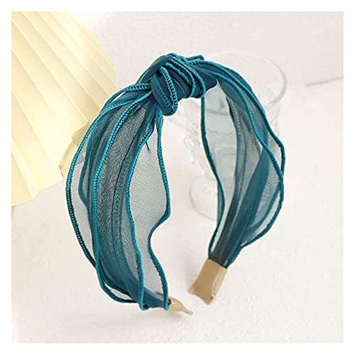XINGTAO Cerchietto per Capelli 2021 New Knotted Heam's Hair Band Band Solid Color Organza Capelli Band Cute Girl Girl Transparent Hair Band Accessori per Capelli Copricapo (Color : Green)
