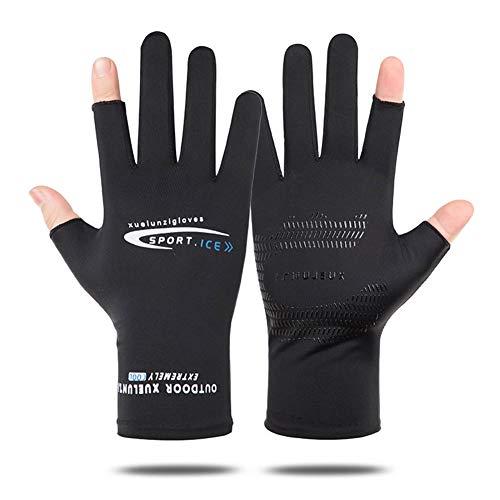 メンズグローブ 夏用 冷感 メンズ手袋 サイクルグローブ UV カット 日焼け防止 運転用 自転車グローブ 涼しい タッチパネル対応 滑り止め加工 通気性 フリーサイズ (2指出し黒)